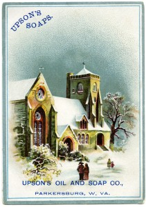 free vintage image,Upson's Soaps trade card,Victorian advertising card,vintage trade card,Christmas church clip art
