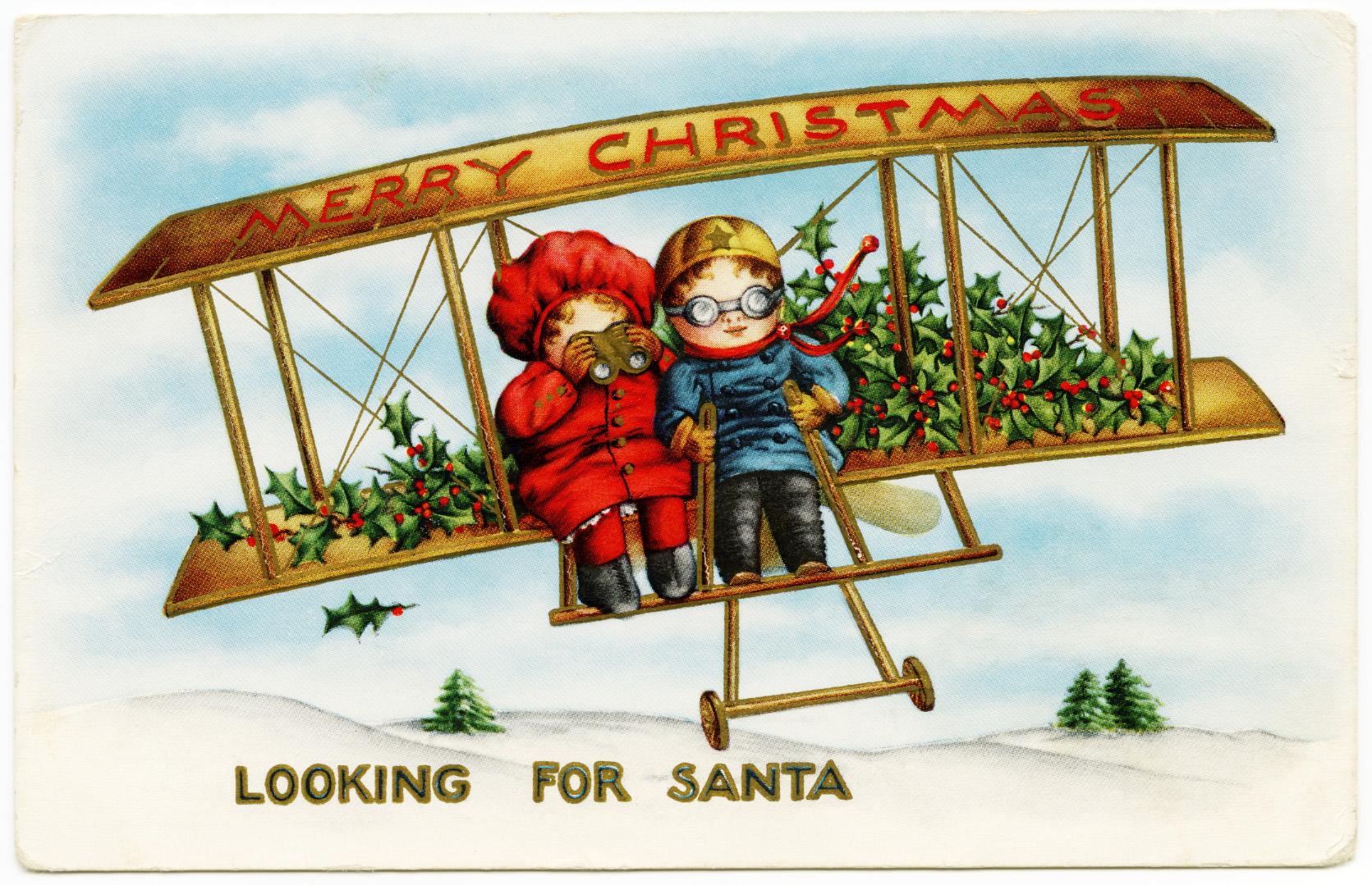 Children Looking for Santa in Plane - Old Design Shop Blog