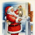 Free vintage clip art Santa makes his rounds by lantern Christmas postcard image
