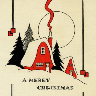 Free vintage art deco red house christmas card printable