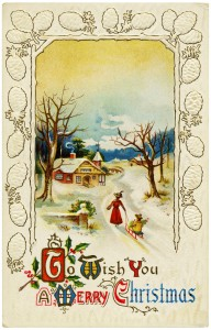 Free vintage clip art Christmas postcard image country winter scene