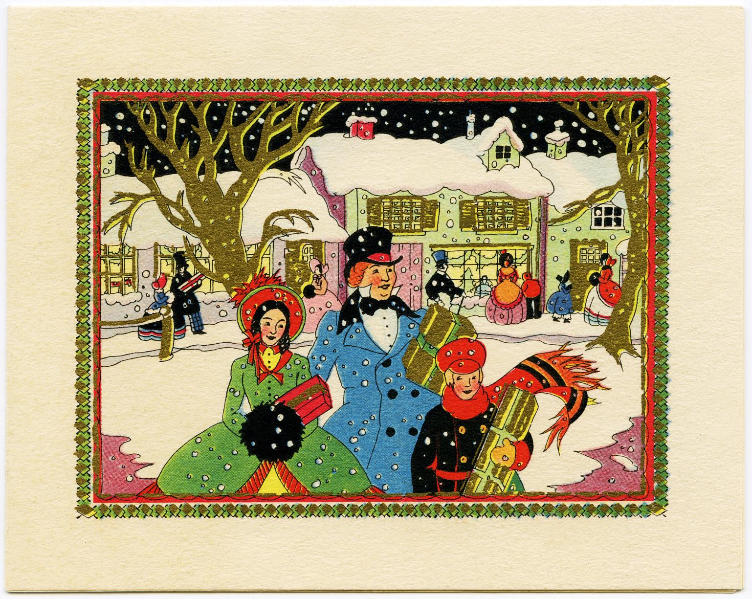 Art Deco Card Family Shopping for Christmas - Old Design Shop Blog