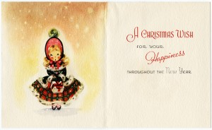 Free vintage clip art Christmas greeting card girl in plaid dress with gift
