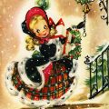 Free vintage clip art Christmas card girl in plaid dress with gift