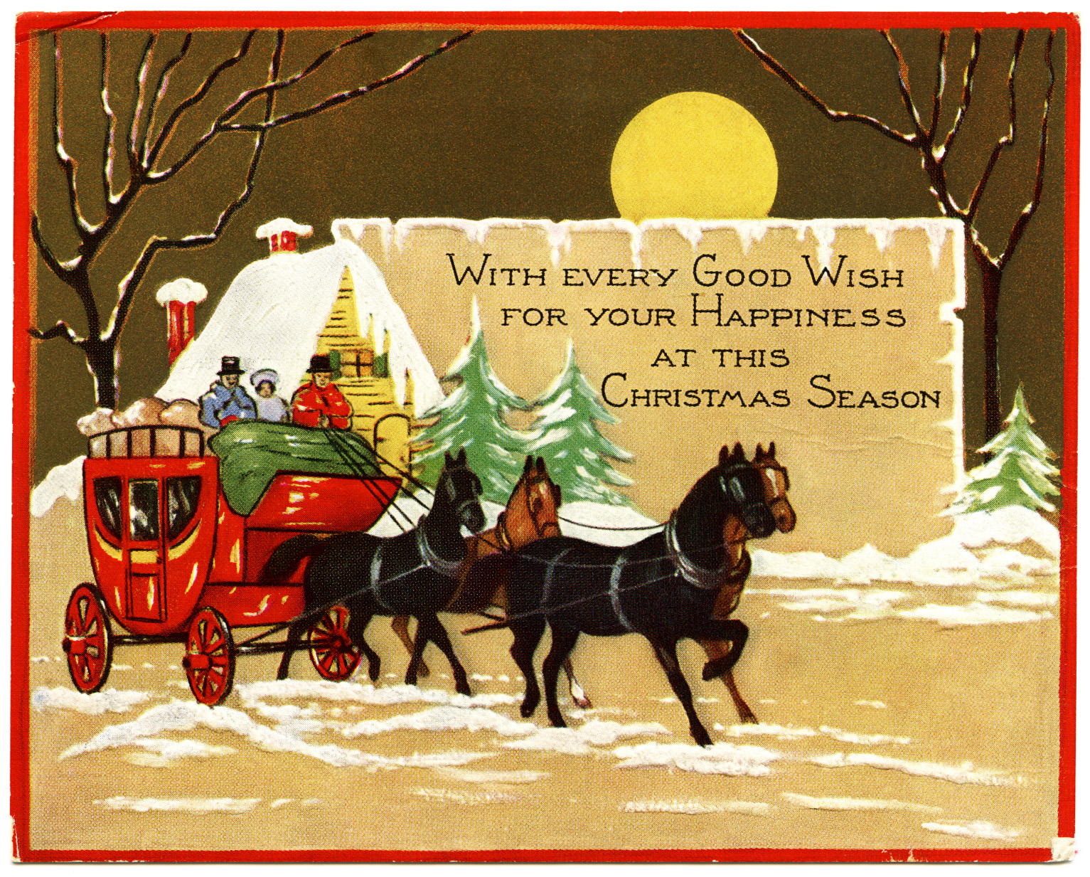 Horse and Carriage Christmas Card ~ Free Vintage Image - Old Design ...