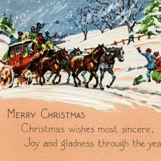 Free vintage horse drawn carriage Christmas card