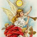 Free vintage clip art Christmas postcard angel cherubs in clouds