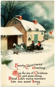 Free vintage clip art horse drawn sleigh winter night Ellen Clapsaddle postcard image