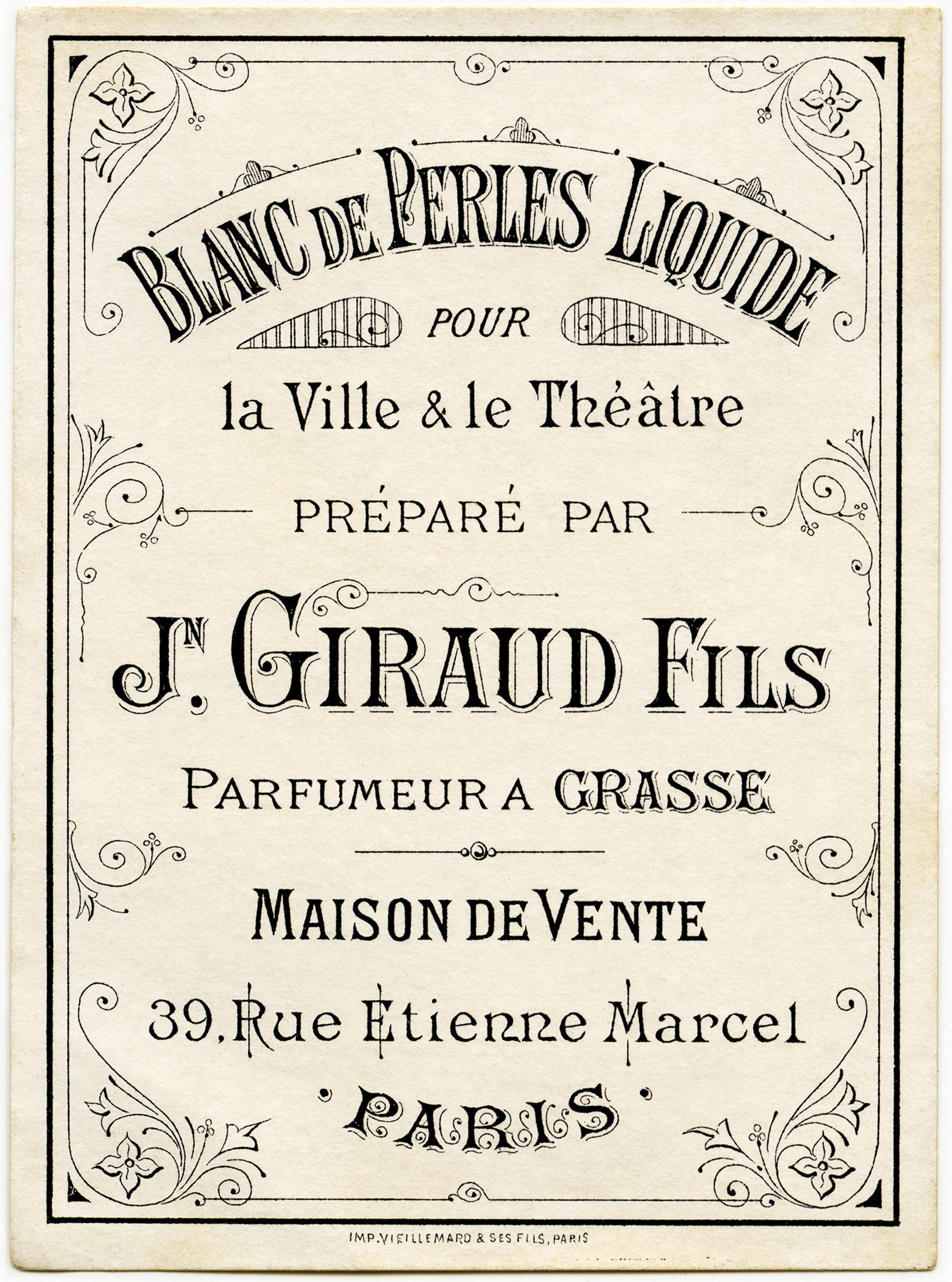 blanc de perles liquide, vintage beauty label, antique French perfume label, J Giraud Fils image, vintage ephemera graphics, old French printable
