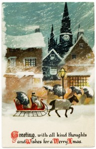 Free vintage clip art Ellen Clapsaddle Christmas postcard snowy night horse carriage