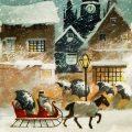 Free vintage clip art Ellen Clapsaddle Christmas postcard snowy night horse carriage