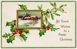 Image result for free vintage clip art Christmas holly berries country scene