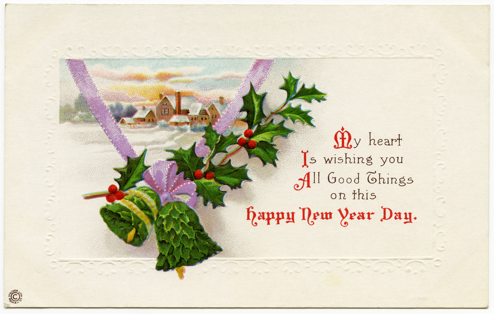 free vintage clip art christmas postcard country winter scene bells holly berries