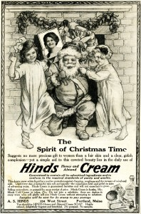 Free vintage clip art Santa and children Hinds Honey Almond Cream magazine advertisement