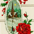 Free vintage clip art image Christmas postcard country church rose
