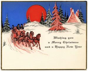 Free vintage Christmas card horse drawn carriage printable