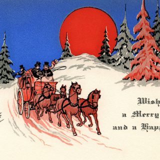 Free vintage Christmas card horse drawn carriage printable