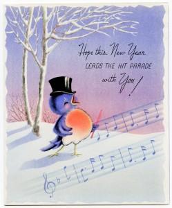 Free vintage printable new year card singing bird
