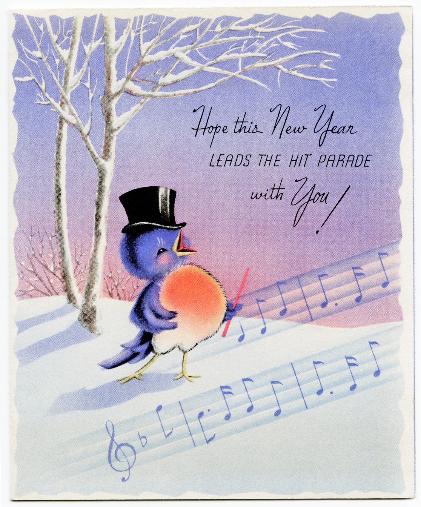 free vintage printable new year card singing bird