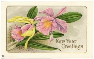 Free vintage clip art purple flower New Year postcard