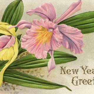 Free vintage clip art purple flower New Year postcard