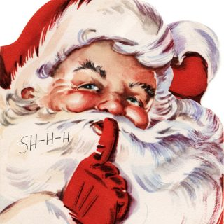 Free vintage Santa shhh greeting card clip art