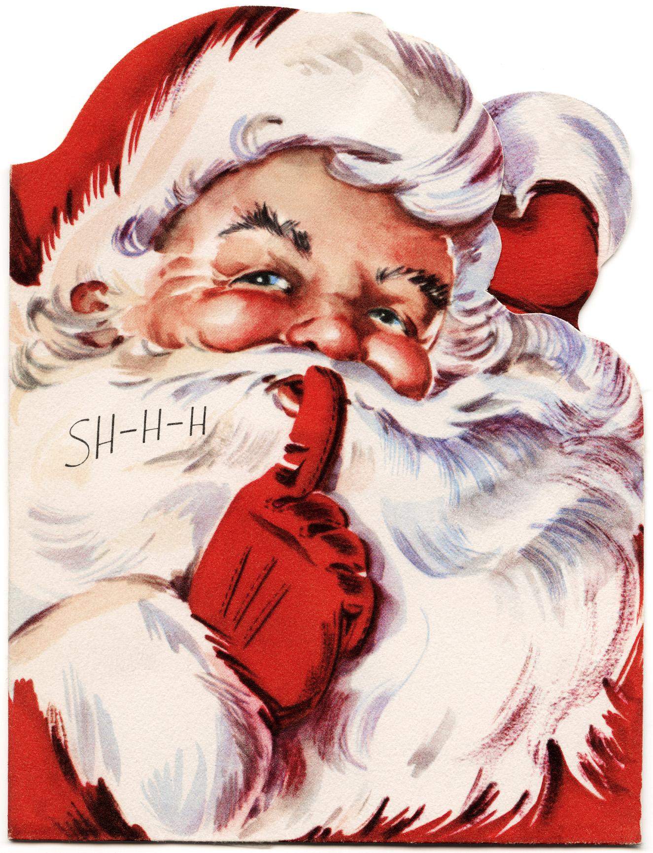 Santa Says Shhh Vintage Christmas Card Old Design Shop Blog