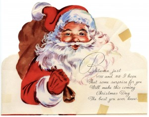 Free vintage Santa greeting card clip art