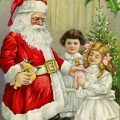 Free vintage clip art Christmas postcard Santa giving gifts to children