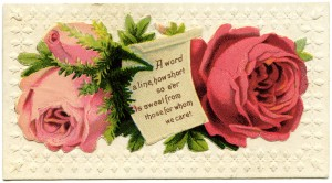 Free vintage clip art Victorian calling card pink red roses