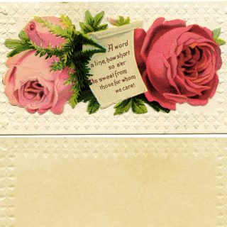 Free vintage clip art Victorian calling card roses