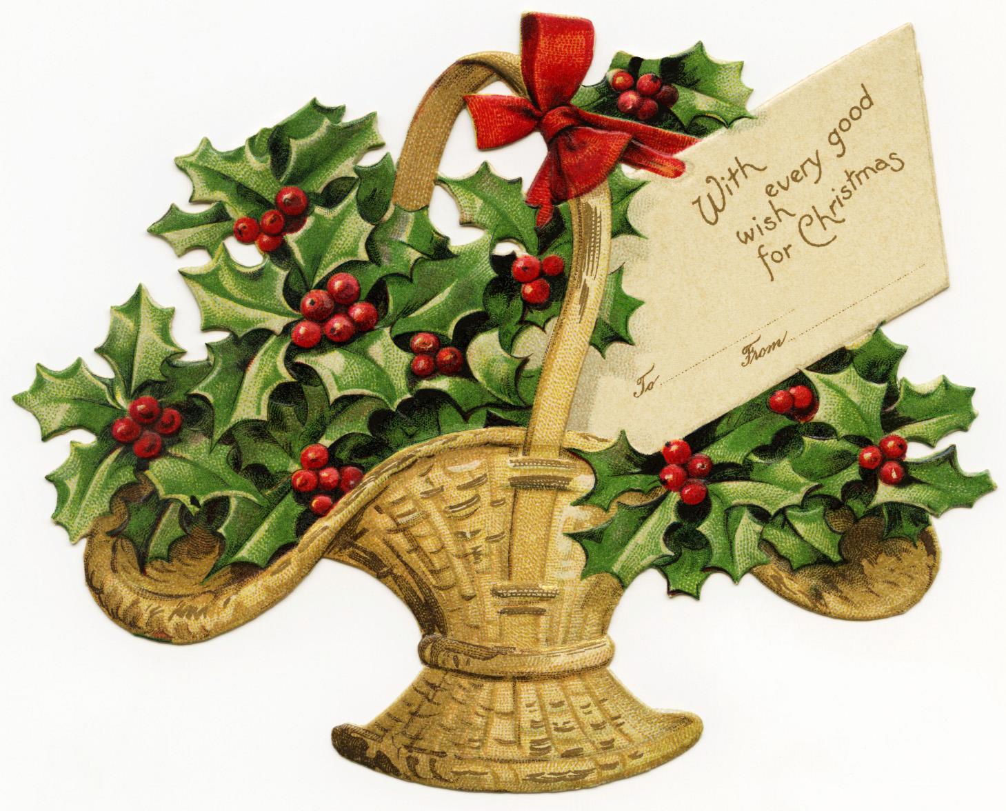 Basket of Holly Victorian Clip Art | Old Design Shop Blog