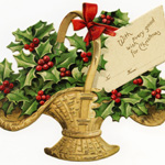 Free vintage clip art Christmas holly and berries in basket