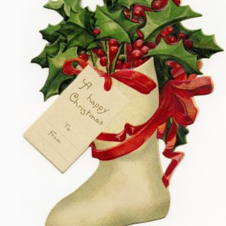 Free vintage clip art Christmas stocking filled with holly and berries