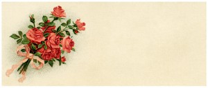 Free vintage clip art roses tag