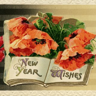 Free vintage clip art New Year poppy illustration