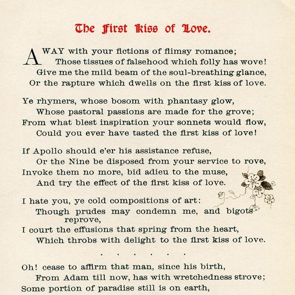 First Kiss Of Love Vintage Poem Old Design Shop Blog