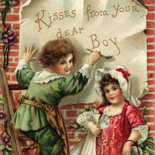 Free vintage clip art Valentine postcard children kisses from your dear boy