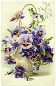 Free vintage clip art basket of pansies