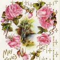 Free vintage clip art postcard pink roses heart