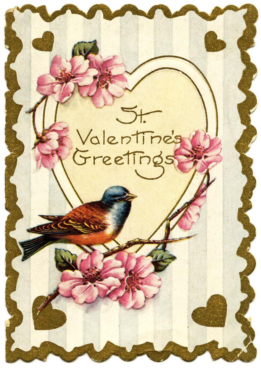 Birds old design shop blog part 5 bird and flowers vintage valentine card kristyandbryce Images