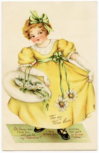 Free vintage clip art girl in yellow dress Valentine daisy postcard image