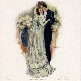Free vintage clip art wedding postcard calendar 1910 Stanwix Hall