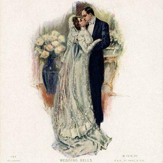 Free vintage clip art wedding postcard calendar 1910 Stanwix Hall