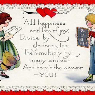 Free vintage clip art Valentine postcard children