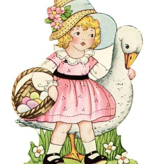 Free vintage clip art Easter girl with basket of eggs walking with goose