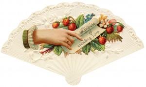 Free vintage clip art Victorian calling card strawberries hand fan