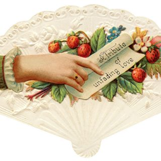 Free vintage clip art Victorian calling card strawberries hand fan