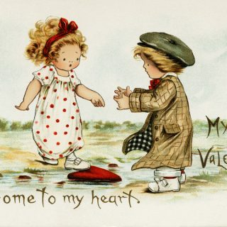 Free vintage clip art Valentine Tuck's postcard come to my heart boy girl