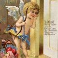 Free vintage clip art cupid valentine postcard
